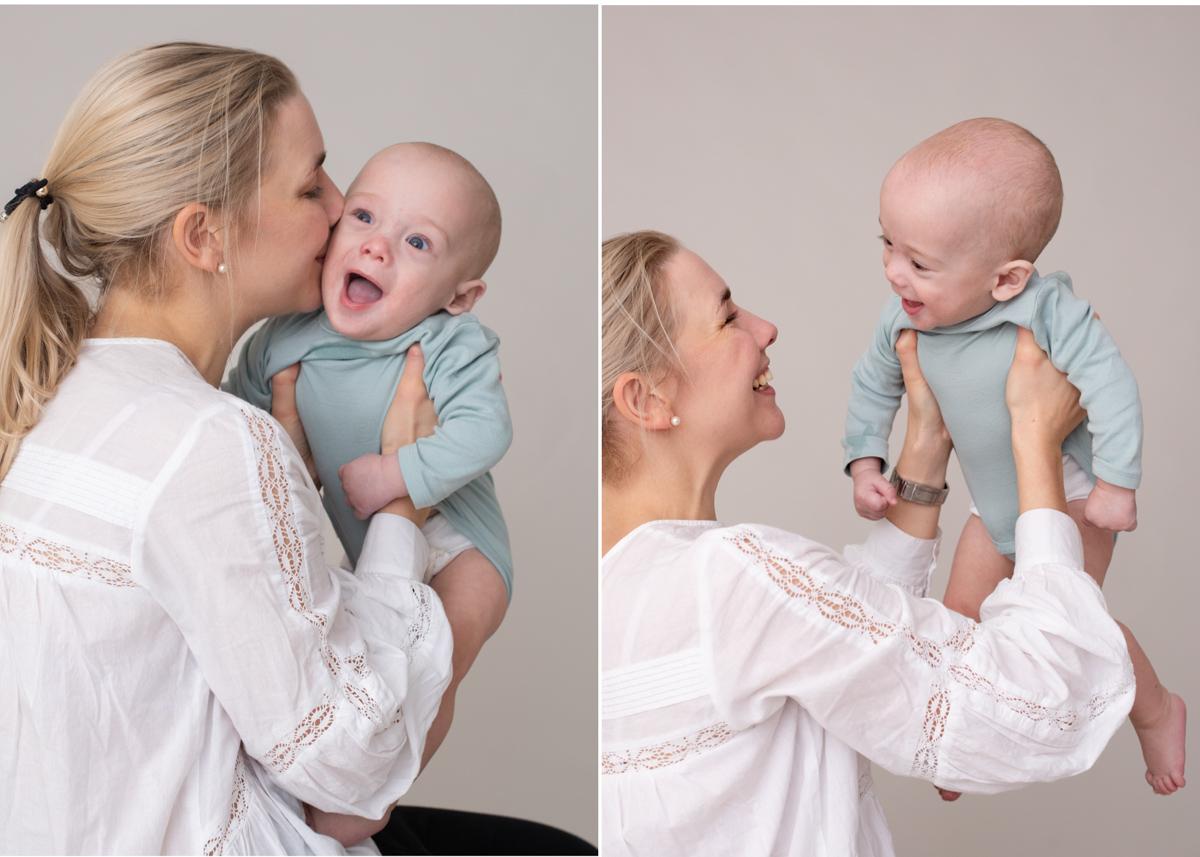 Bebisfotografering i Stockholm Porträtt av mamma och bebis barnfotograf Täby Stockholm