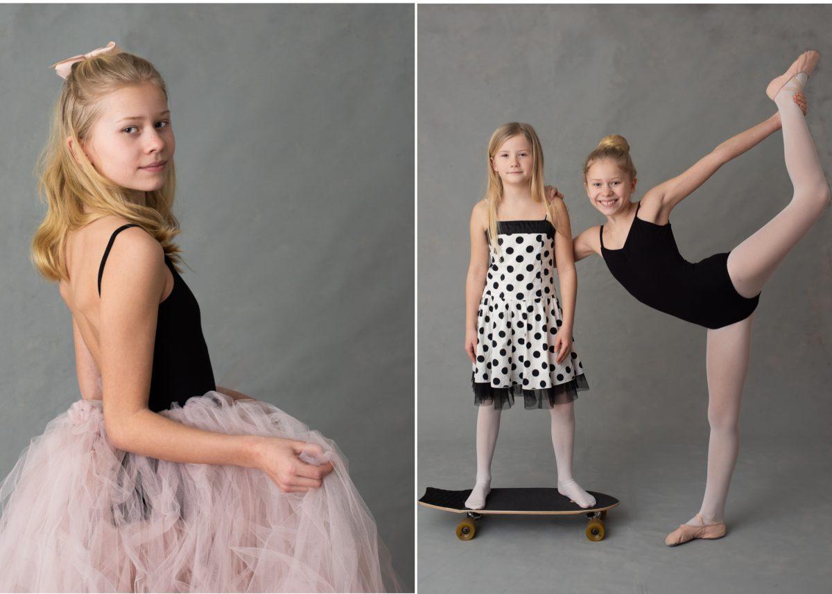 Personliga barnporträtt studioporträtt med rekvisita skateboardåkare och ballerina