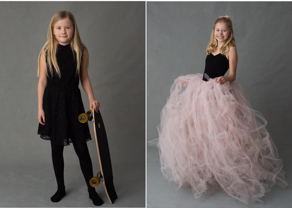 Personliga barnporträtt studioporträtt med ballerina och skateboard