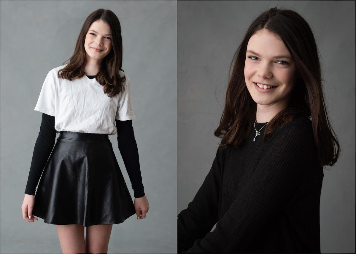 Tonårsfotografering i studio Tonårsporträtt Blicka studio Modellporträtt