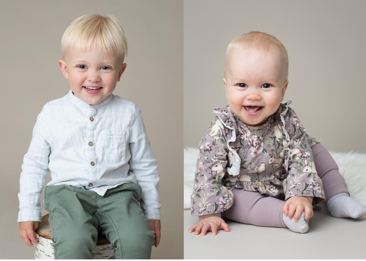 Hållbar julklapp barnfotografering i studio Stockholm