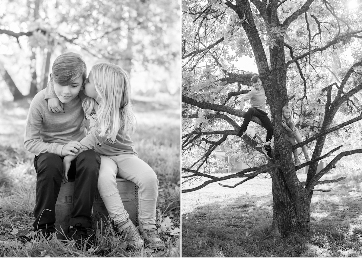 Barnfotografering utomhus Viskande barn klättrande barn fotograf Täby Blicka Studio