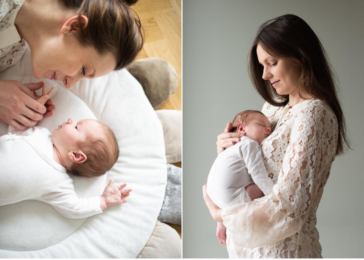 Blicka studio erbjuder Nyföddfotografering i hemmet Mamma med bebis